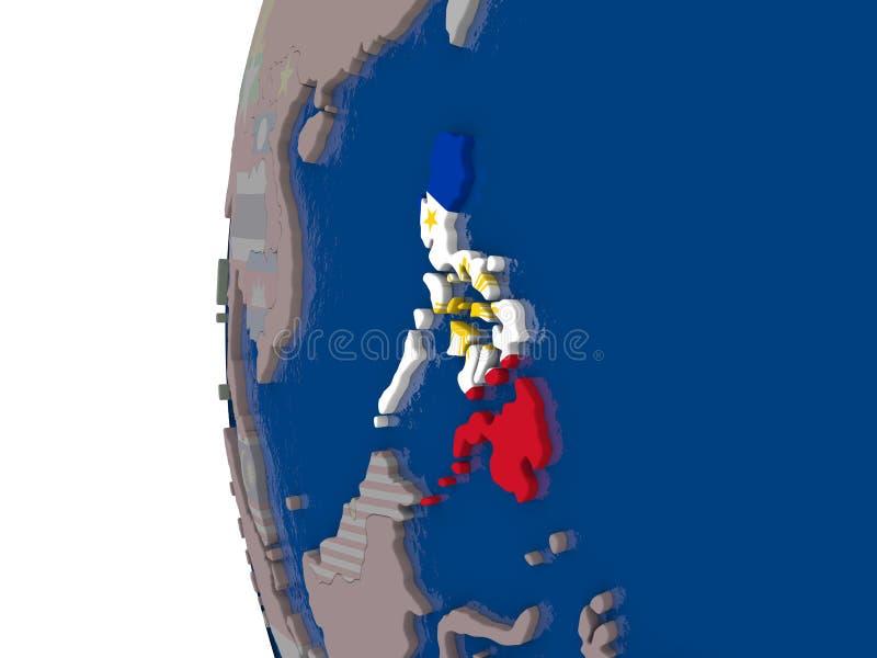 Filipinas con la bandera nacional stock de ilustración