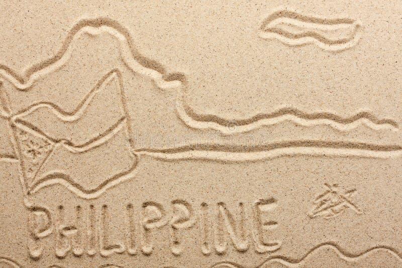 Filipinas manuscritas de la arena foto de archivo libre de regalías