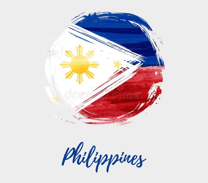 Filipinas señalan por medio de una bandera en fondo de la forma redonda del grunge ilustración del vector