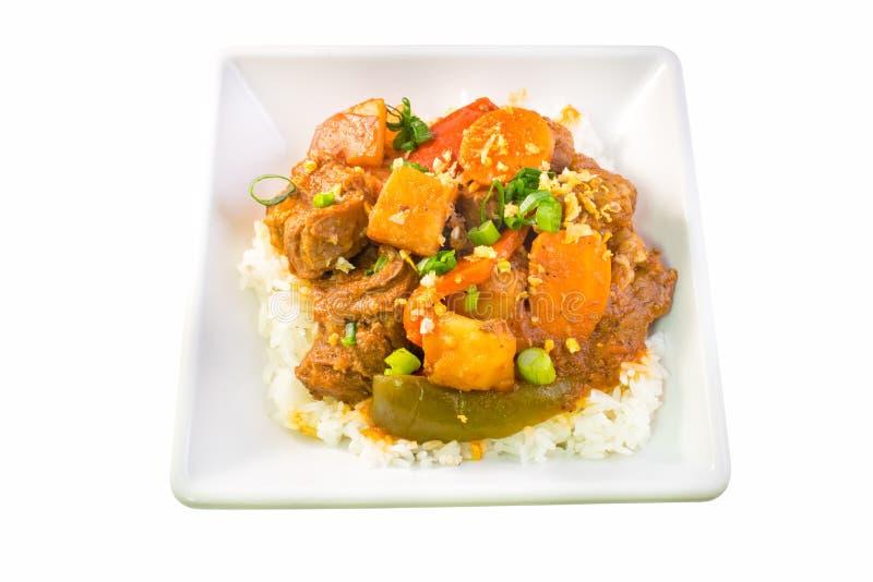 Filipino Beef Caldereta with rice top view stock photo