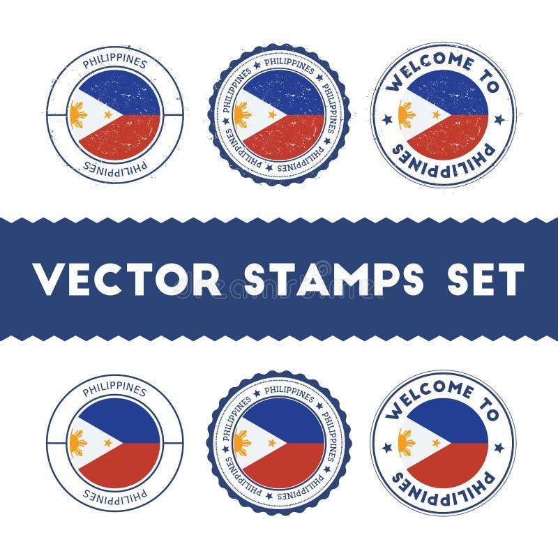 Filipino flag rubber stamps set. stock illustration