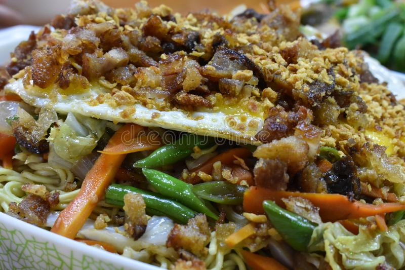 Filipino food, `pancit batil patong`, is a popular dish from the northern part of the Philippines stock photo