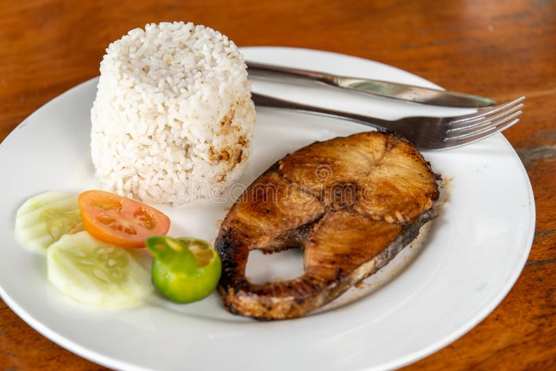 Steak tuna with rice. Filipino food : steak tuna with rice stock photo