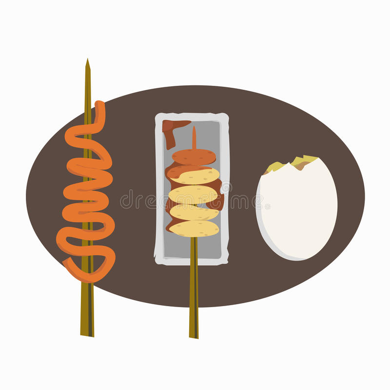 Filipino street foods icon set vector illustration