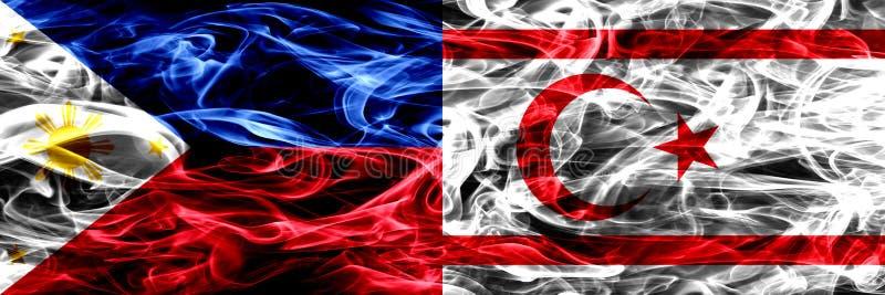Filipiny vs Północne flagi umieszczająca Cypr dymu strona strona - obok - Gęsty abstrakt barwił silky dymne flagi ilustracji