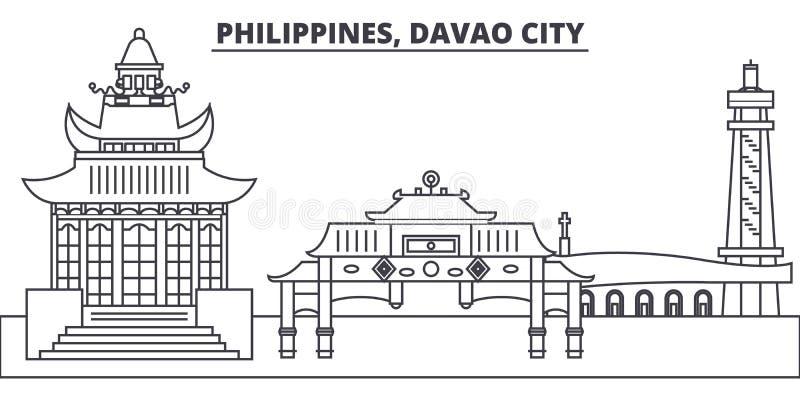 Filippijnen, Davao-de horizon vectorillustratie van de Stadslijn Filippijnen, Davao-Stads lineaire cityscape met beroemde oriënta royalty-vrije illustratie