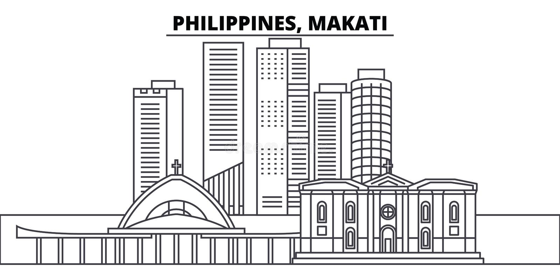 Filippijnen, Makati-de vectorillustratie van de lijnhorizon Filippijnen, lineaire cityscape van Makati met beroemde oriëntatiepun royalty-vrije illustratie