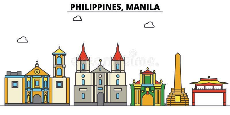 Filippijnen, Manilla De architectuur van de stadshorizon editable royalty-vrije illustratie