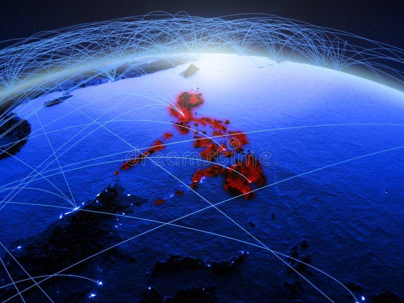 Filippijnen op blauwe digitale aarde met internationaal netwerk die mededeling, reis en verbindingen vertegenwoordigen 3d stock foto