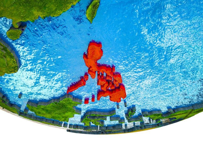 Filippijnen op 3D Aarde royalty-vrije illustratie