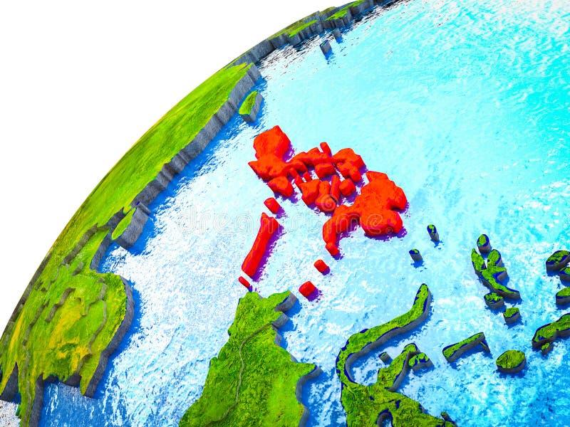 Filippijnen op 3D Aarde stock illustratie