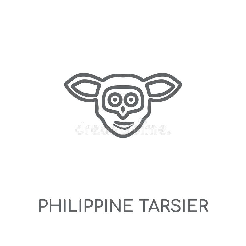 Filippijns meer tarsier lineair pictogram Moderne overzichts Filippijnse tarsie vector illustratie