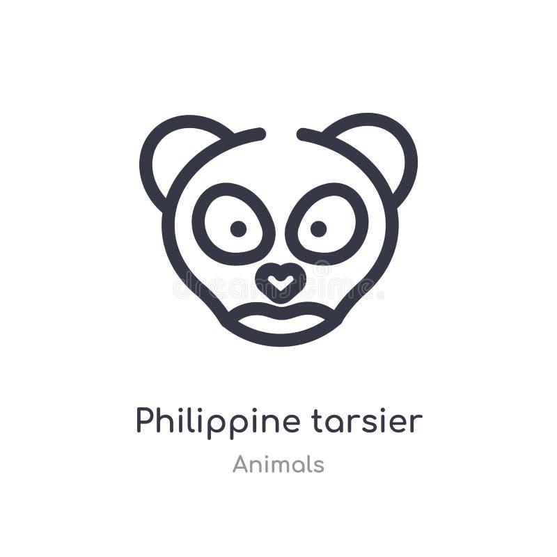 Filippijns meer tarsier overzichtspictogram ge?soleerde lijn vectorillustratie van diereninzameling editable dunne Filippijnse sl royalty-vrije illustratie
