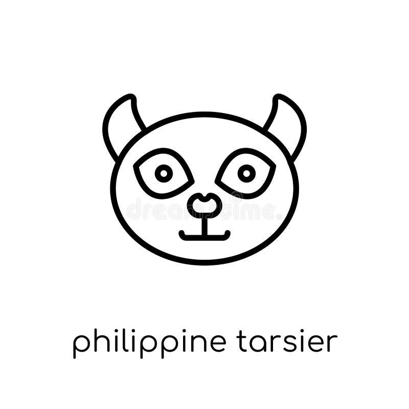 Filippijns meer tarsier pictogram In moderne vlakke lineaire vectorphilip royalty-vrije illustratie