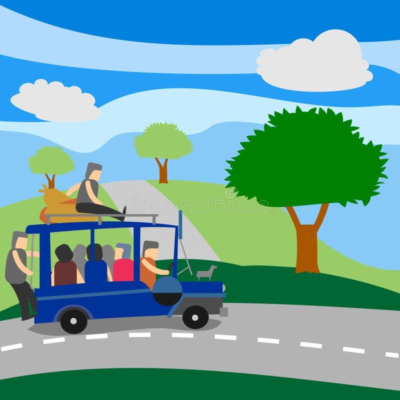 Filippijnse Jeepney met passagiers vector illustratie