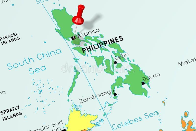 Filippine, Manila - capitale, appuntata sulla mappa politica illustrazione vettoriale
