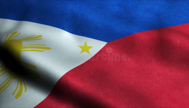 Filippinerna som vinkar flaggan i 3D royaltyfri illustrationer