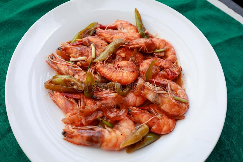 Filippino shrimp dish. Filippino seafood cuisine - shrimp dish royalty free stock photography