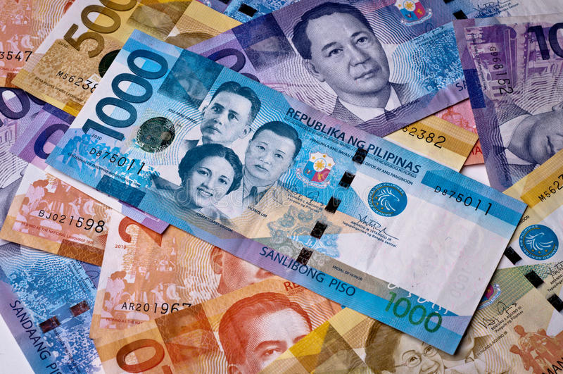 filippinsk valuta royaltyfria foton