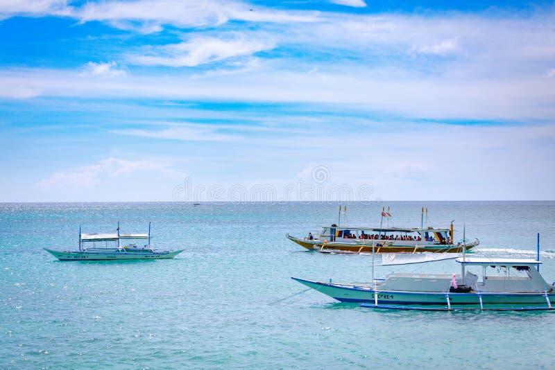 Filippinskt fartyg i Boracay, Filippinerna arkivfoto