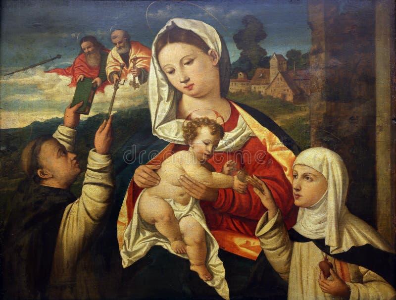 Filippo da Verona : Madonna et enfant avec le St Dominique et saint Catherine de Sienna images libres de droits