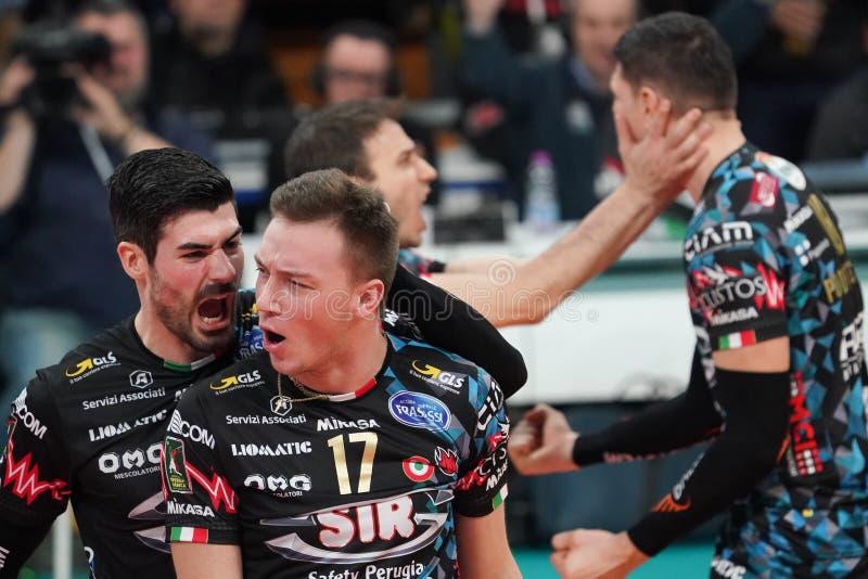 Italian Volleyball Men Cup Quarter finals - Sir Safety Conad Perugia vs Kioene Padova. Filippo lanza (n . 10 hitter spiker sir safety conad perugia) oleh stock photos