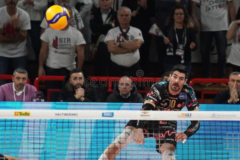 Italian Volleyball Men Cup Quarter finals - Sir Safety Conad Perugia vs Kioene Padova. Filippo lanza (n . 10 hitter spiker sir safety conad perugia) on service stock image
