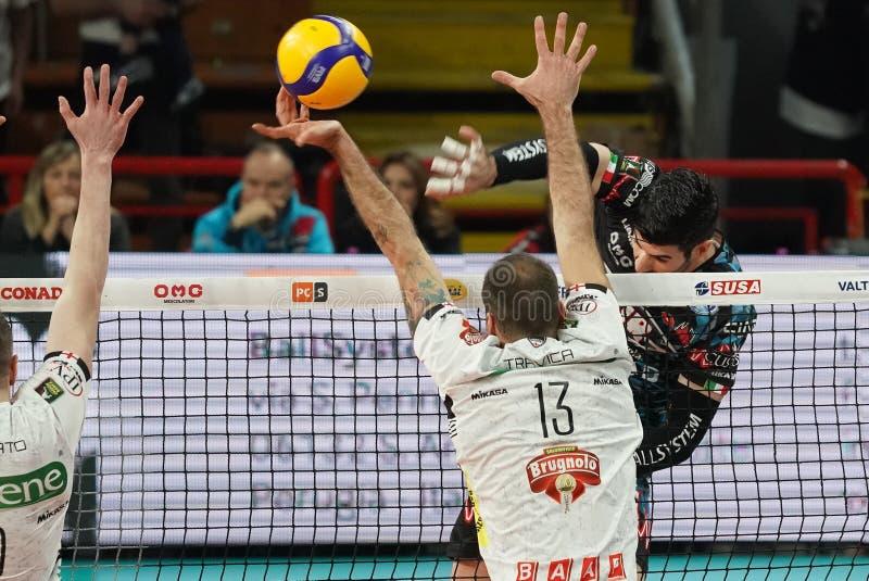 Italian Volleyball Men Cup Quarter finals - Sir Safety Conad Perugia vs Kioene Padova. Filippo lanza (n . 10 hitter spiker sir safety conad perugia) spike during stock photo