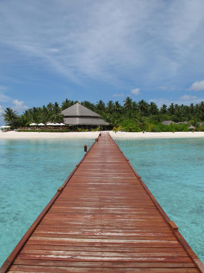 Filitheyo Jetty in the Maldives stock photo