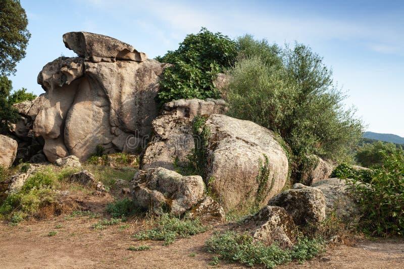 Filitosa,巨石站点在南可西嘉岛 免版税库存图片