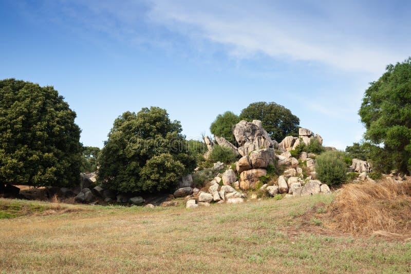 Filitosa,巨石站点夏天风景  免版税图库摄影