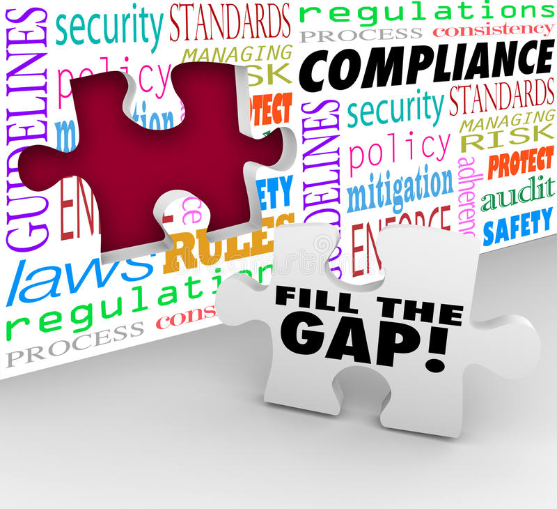 Fill the Compliance Gap Puzzle Wall Hole Follow Rules Laws Regulations. Fill the Gap words on a puzzle piece ready to be placed in a hole in a wall with words royalty free illustration