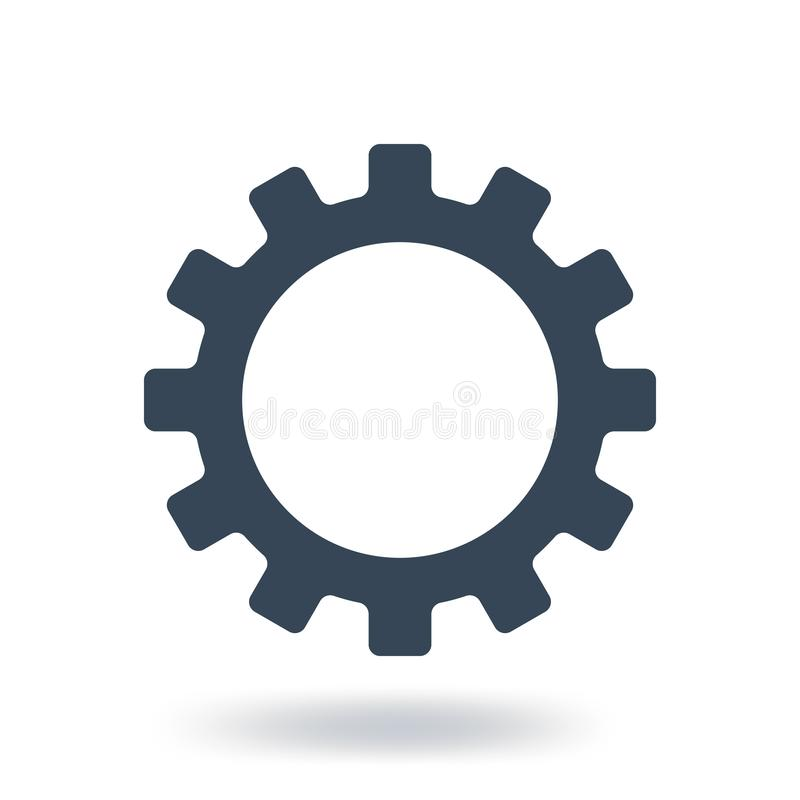 Fill Gear Icon. Settings symbol. Flat style. Vector illustration isolated on white background. royalty free illustration