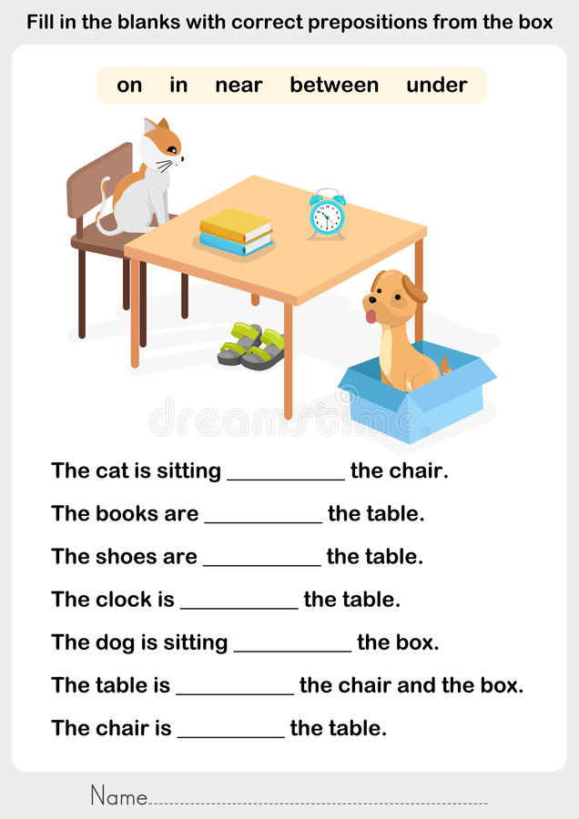 Free Fill In The Blanks With Correct Prepositions Royalty Free Stock Photo - 80267445