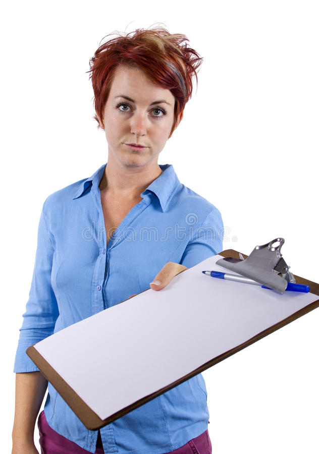 Fill Out Forms. Young female welcoming viewer with a clip board stock image