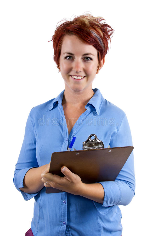 Fill Out Forms. Young female welcoming viewer with a clip board stock images