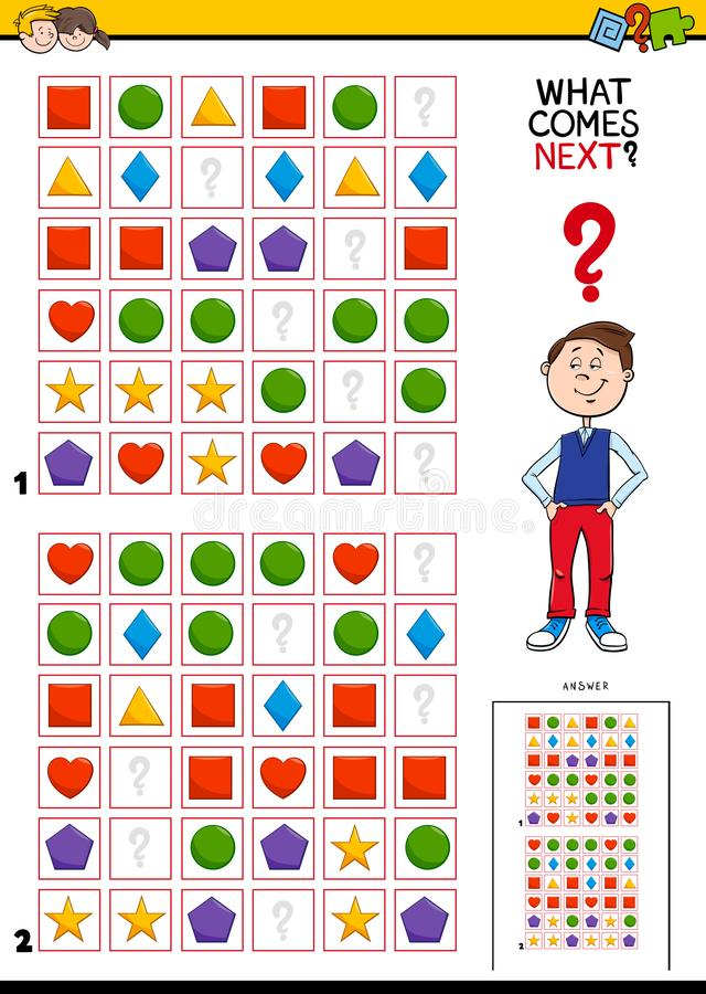 Fill the pattern educational activity for children. Cartoon Illustration of Completing the Pattern in the Rows Educational Task for Children royalty free illustration