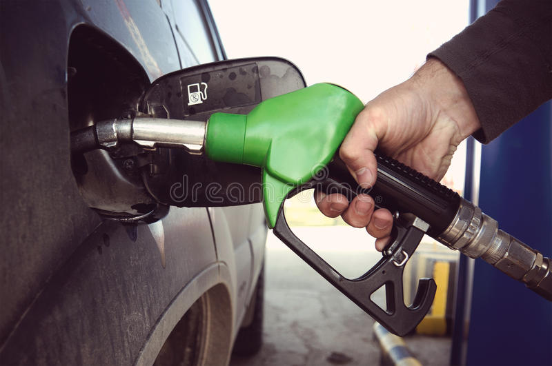 Fill up fuel at petrol station royalty free stock photo