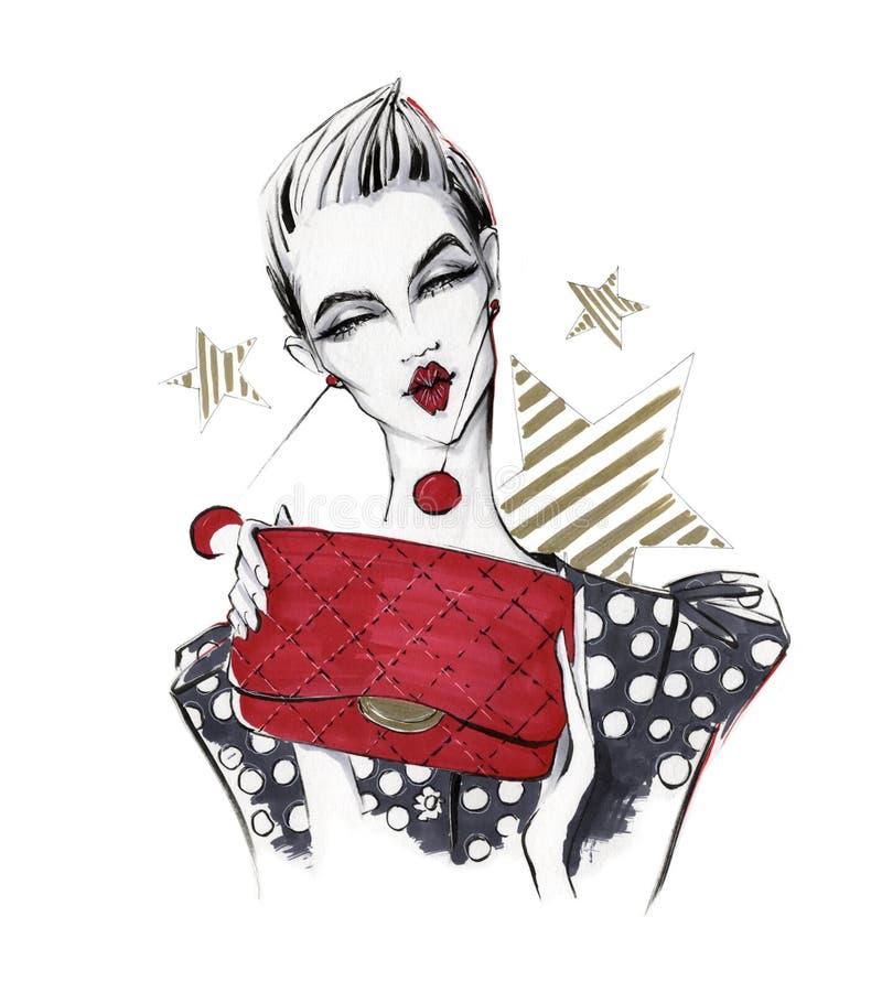 Fille à la mode avec un sac à main illustration stock