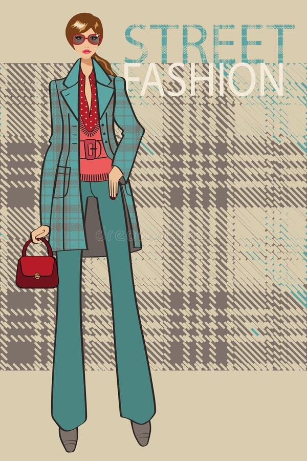 Fille à la mode dans le manteau Illustration de mode illustration de vecteur