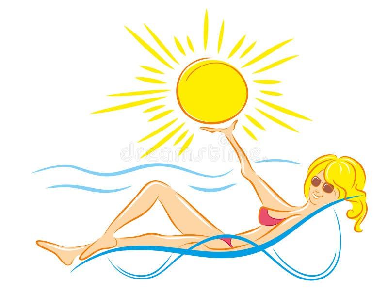 Fille à la plage illustration stock