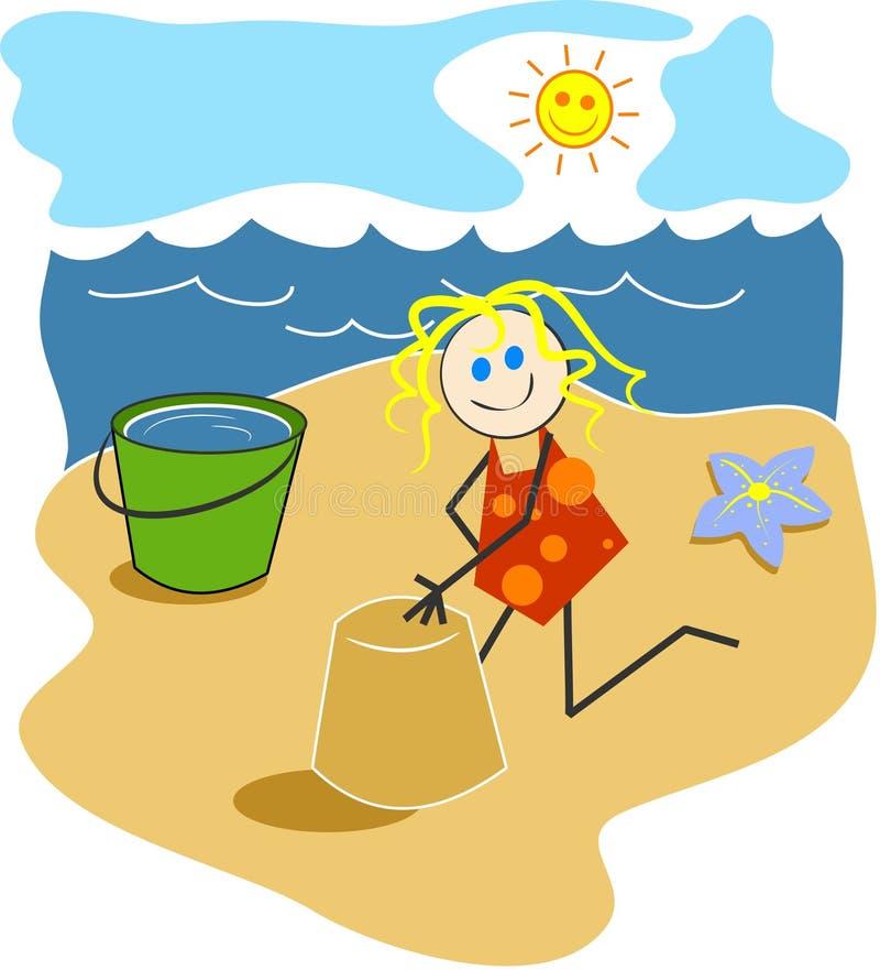 Fille à la plage illustration libre de droits
