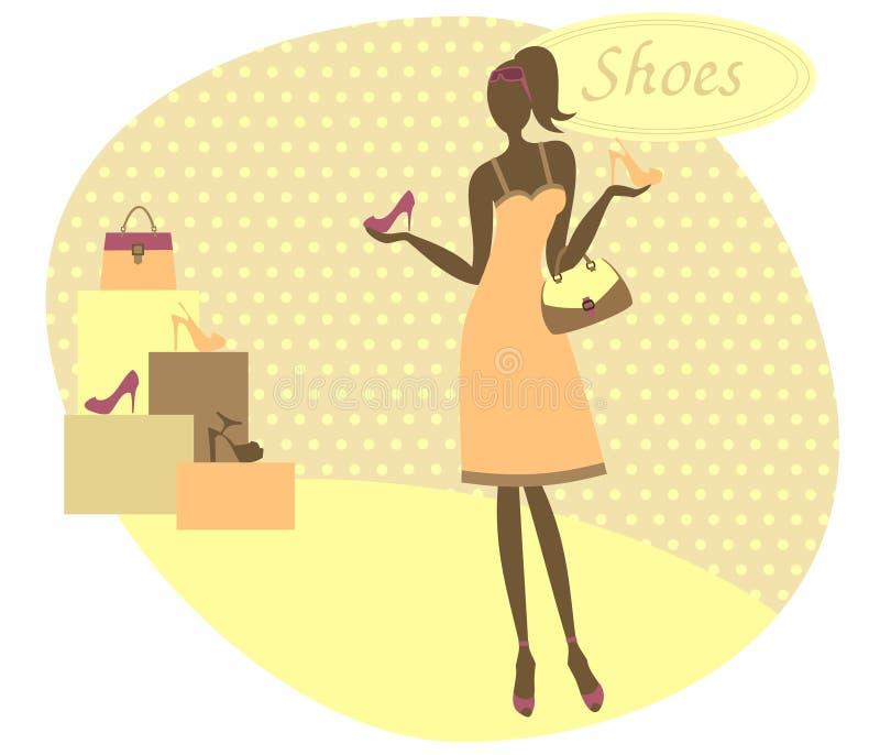 Fille à un magasin de chaussures illustration libre de droits