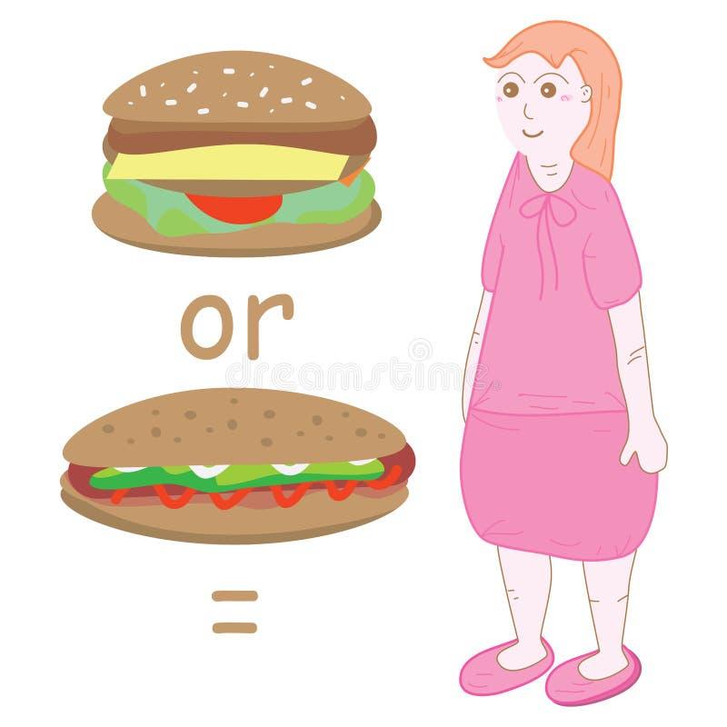 Fille égale d'hamburger ou de hot dog grosse illustration stock