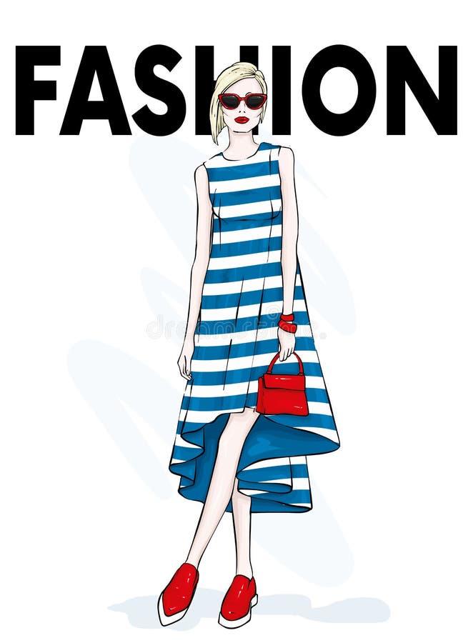 Fille élégante dans une robe, chaussures et avec un sac Mode et style de 90s Illustration de vecteur illustration libre de droits