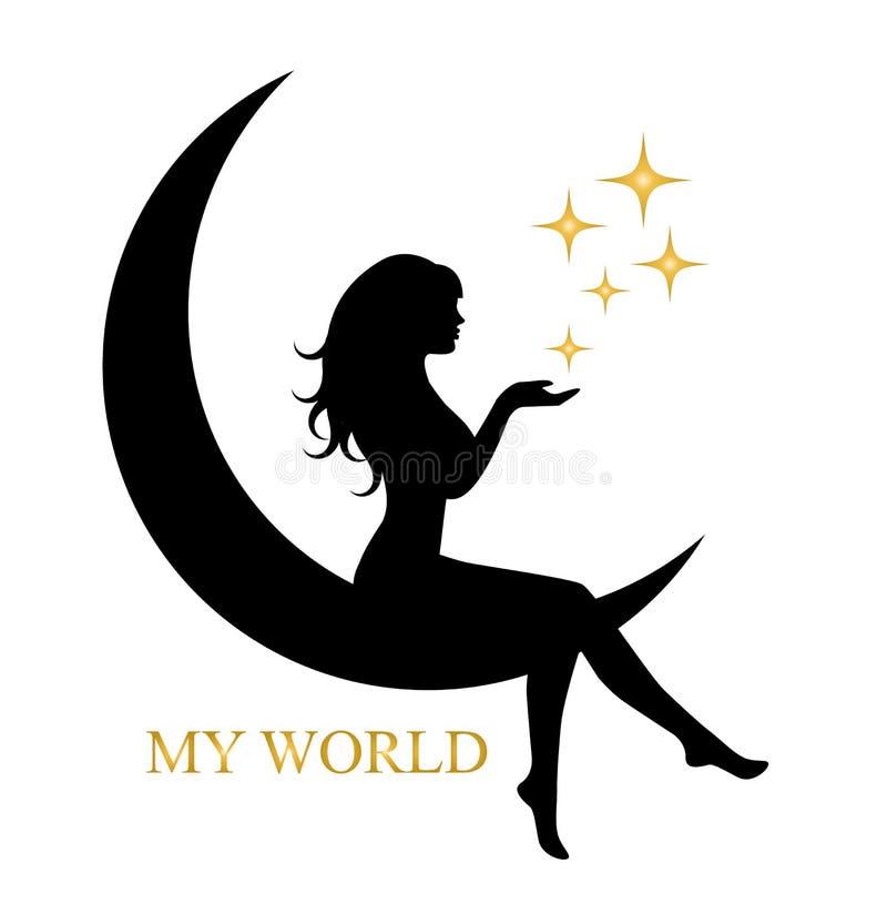 Fille élégante s'asseyant sur la lune illustration stock
