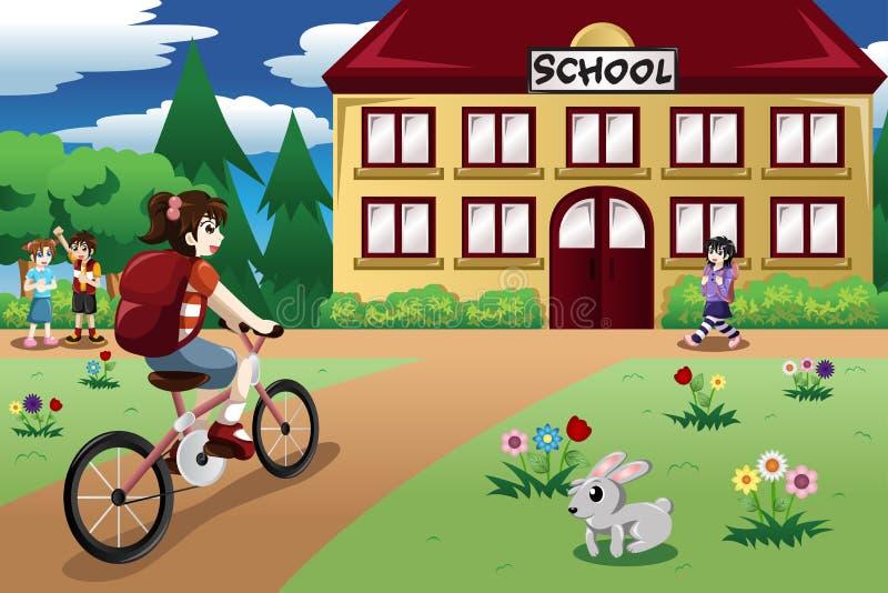 Fille élémentaire d'étudiant montant un vélo à l'école illustration libre de droits