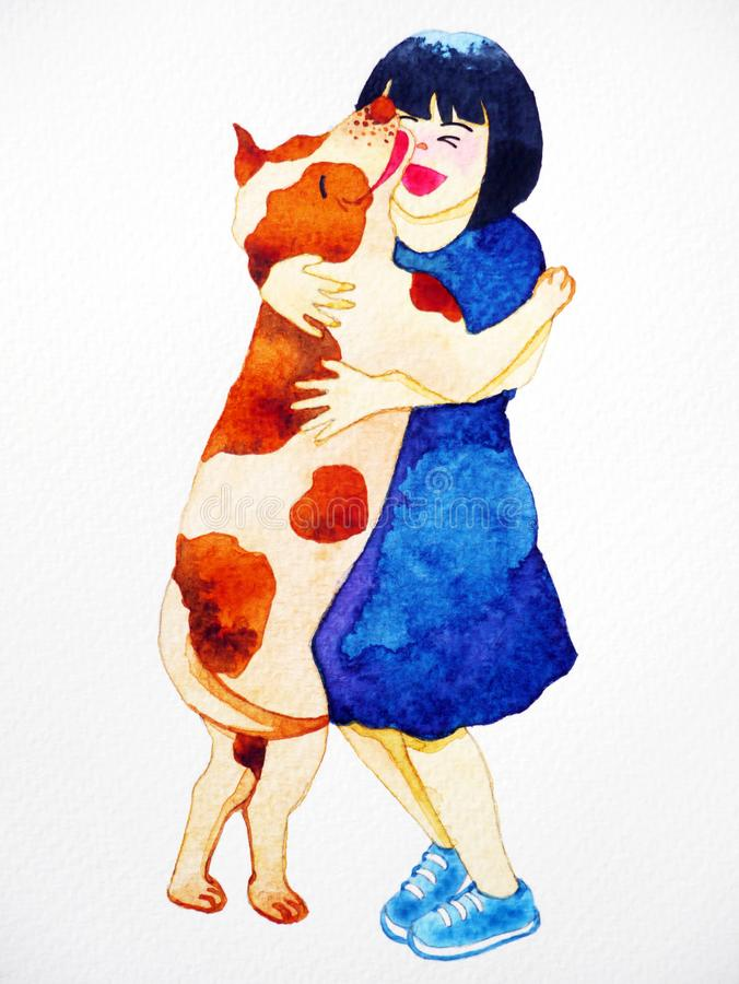 Fille étreignant l'aquarelle d'animal familier d'amour de chien peignant tirée par la main illustration de vecteur