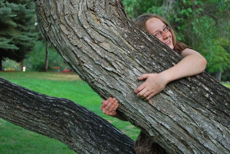 Fille étreignant l'arbre photographie stock