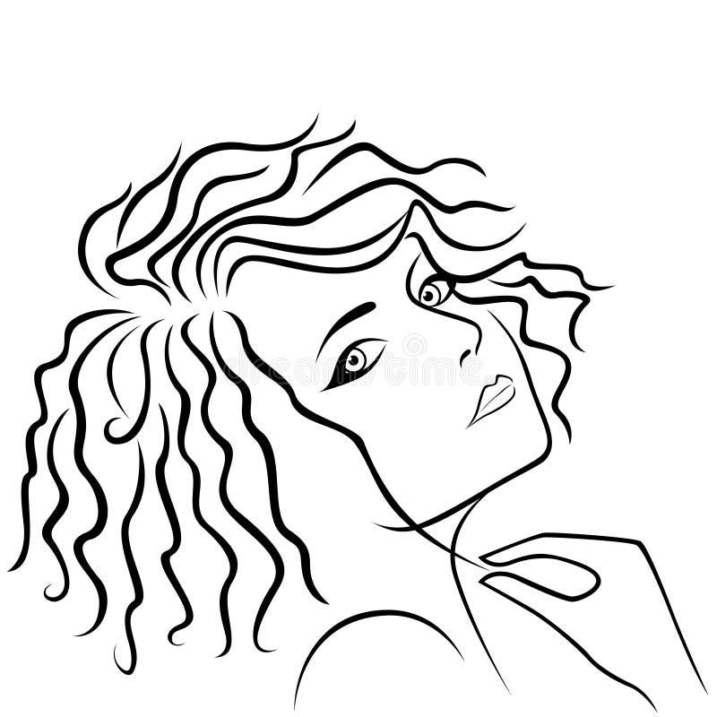 Fille abstraite tenant la mèche de cheveux illustration libre de droits